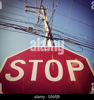Stop Sign and wires, Seattle, Washington - Stock Photo
