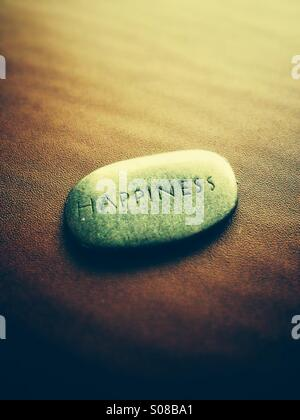 The word happiness carved onto a stone - Stock Photo