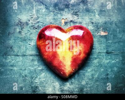 Red glass heart - Stock Photo