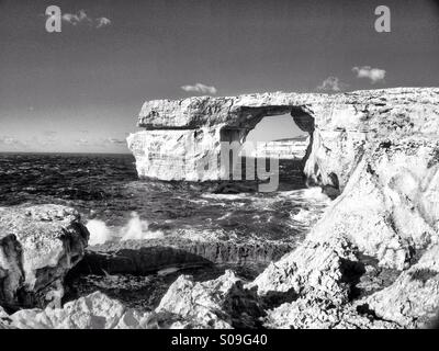 Stormy winter seas at Azure Window.  Monochrome - Stock Photo
