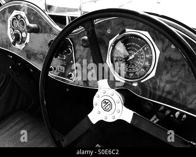 vintage mg sports car interior classic british sports car stock photo royalty free image. Black Bedroom Furniture Sets. Home Design Ideas