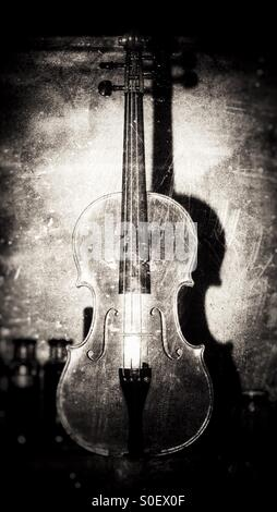 Violin in bw with shadow - Stock Photo