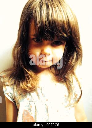 Portrait of 3-year old girl - Stock Photo