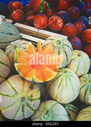 Colorful fruit composition in a street market - Stock Photo