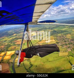 Hang gliding above Worcestershire. - Stock Photo