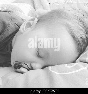 9 month old baby boy , teething, feverish is taking a nap with his pacifier on his parents bed - Stock Photo