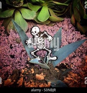 A paper skeleton running on a cactus decorates a tomb during Day of the Dead celebrations in San Gregorio Atlapulco, - Stock Photo