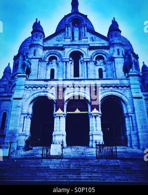 Sacre Coeur church in Paris, France - Stock Photo