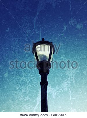 Blue sky and light post - Stock Photo