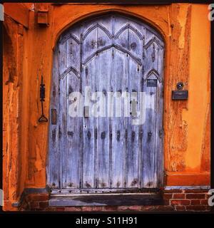 Doorway to the 14th Century Little Hall in Lavenham, Suffolk - Stock Photo