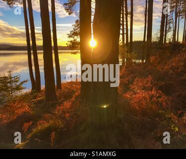 Sunset at Kielder Water and Forest, Northumberland Park,  England - Stock Photo