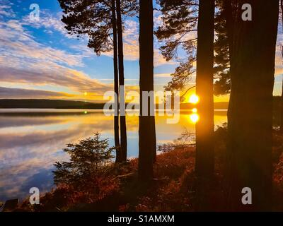 Sunset at Kielder Water, Northumberland Park, England - Stock Photo
