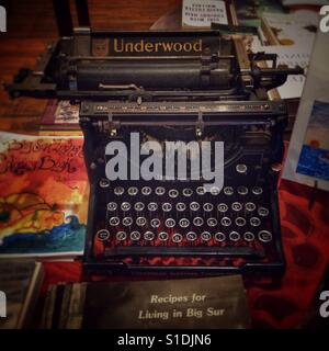 Henry Miller's typewriter in the library at Big Sur. - Stock Photo