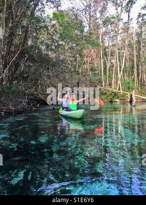 Kayaking on the Weeki Waachi Springs - Stock Photo