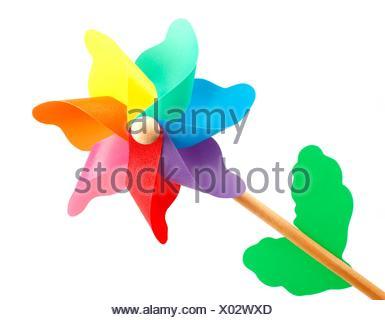Colorful pinwheel isolated on white background. - Stock Photo