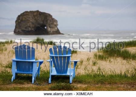 Two Adirondack chairs on a beach Stock Photo 59353137 Alamy