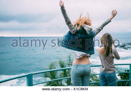 Two Young Women On Promenade - Stock Photo
