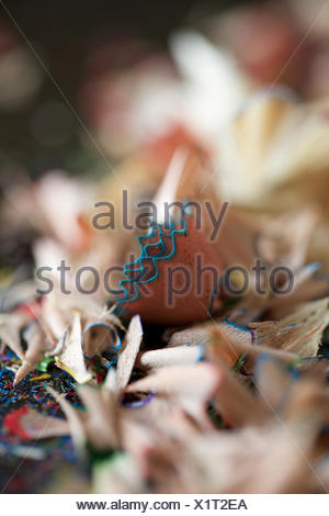 pencil shavings. stationery, peel, pattern, crayon. - Stock Photo