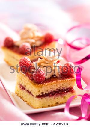 White Chocolate and Raspberry Cake - Stock Photo