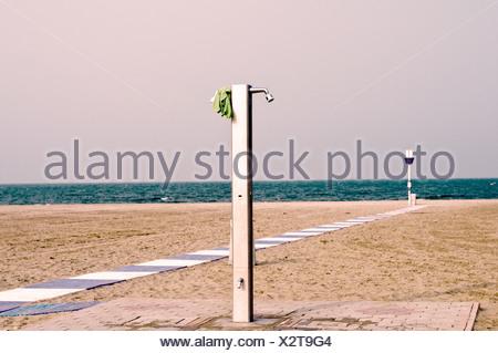 Shower on the sandy beach of Lido di Venezia, Italy, Europe - Stock Photo