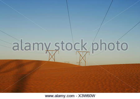 Namibia, Power lines in desert - Stock Photo