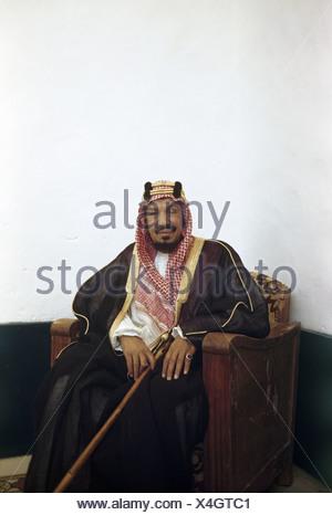 Portrait of King Abdul Aziz al Saud. - Stock Photo
