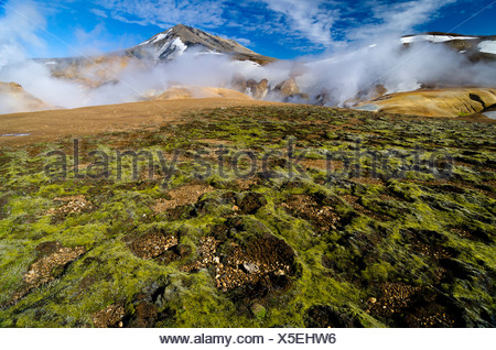 Moss, hot springs and snow-capped Rhyolite Mountains, Hveradallir high temperature region, Kerlingarfjoell, highlands, Iceland - Stock Photo