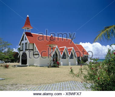Mauritius, Cap Malheureux, 'Eglise de Cap Malheureux', view, Indian ocean, Maskarenen, island state, island, the north, 'misfortune cape', the most northern dot the island, church, wooden church, facade, white, tiled roof, red, parish church, church, view - Stock Photo