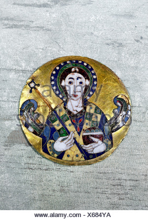 fine arts, religious art, angels, medaillon depicting an angel, byzantine art, gold, 6th /7th century AD, Bayerisches Nationalmu - Stock Photo