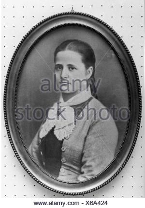 Schumacher, Anna 'Aennchen', 22.1.1860 - 26.2.1935, German gastronomer, portrait, 1877, 19th century, clothes, outfit, outfits, - Stock Photo