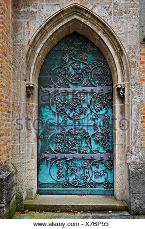 ... Gothic door with iron mounting at the neo-Gothic St. Ottilien Archabbey near & Gothic door with iron mounting at the neo-Gothic St. Ottilien Stock ...
