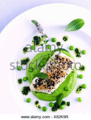 Fish fillet with sesame on pea puree and lime vinaigrette - Stock Photo