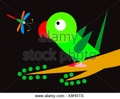 Parrot And Dragonfly - Stock Photo