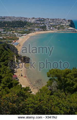Italy, Europe, Beach, Peschici, Gargano, Puglia, landscape, spring, beach, sea, - Stock Photo