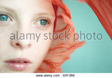 Young woman wearing headscarf, close-up - Stock Photo