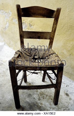 Old Broken Wooden Chair · Old Wooden Chair With Wicker Seat, Worn Out,  Crete, Greece, Europe