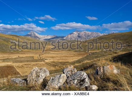 High plateau Gran Sasso d'Italia, Abbruzzies, Abruzzo, Italy, Europe - Stock Photo