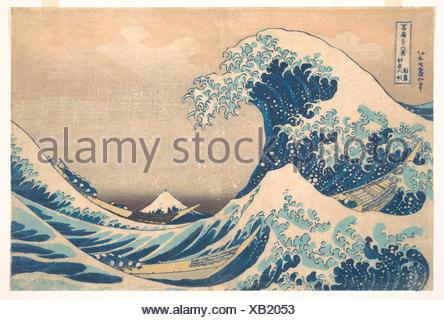 冨嶽三oå…æ™¯ã€€ç¥žå¥ˆå·æ²-浪裏/Under the Wave off Kanagawa (Kanagawa oki nami ura), also known as The Great Wave, from the series Thirty-six - Stock Photo