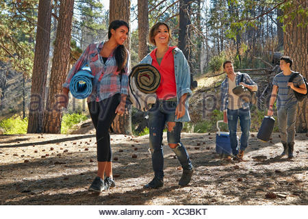 Four young adult friends walking in forest with camping equipment, Los Angeles, California, USA - Stock Photo