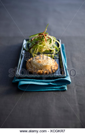 Goat Cheese on SŽsame Shortbread - Stock Photo