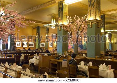 France, Paris, restaurant La Coupole, guests, - Stock Photo