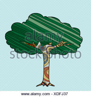 Abstract tree with lines and circles over blue halftone background - Stock Photo