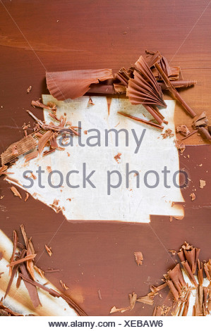 Making chocolate curls FoodCollection - Stock Photo