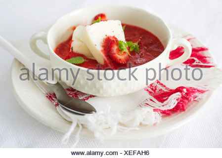 Strawberry soup and fresh cheese - Stock Photo
