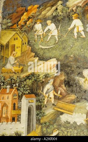 Ciclo dei Mesi Fresko Torre Dell Aquila Buonconsiglio Castle Trento Trentino Alto Adige Italien - Stockfoto