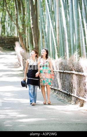 Zwei junge Frauen, die zu Fuß in Bambus Wald, Sagano, Kyoto, Japan - Stockfoto