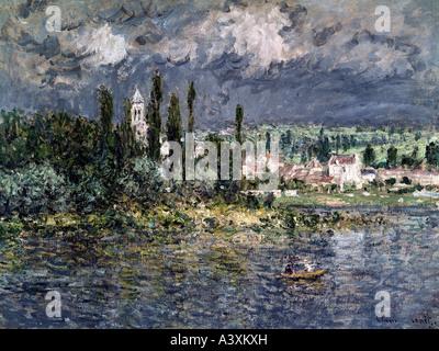 """""""Bildende Kunst, Monet, Claude, (1840-1926),""""Landschaft und Gewitter"""", Öl auf Leinwand, Folkwang Museum, Essen, - Stockfoto"""