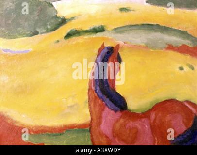 """""""Fine Arts, Marc, Franz, (1880-1916), Malerei, 'Pferd in Landschaft', ('Pferd in Landschaft""""), 1910, Öl auf Leinwand, - Stockfoto"""