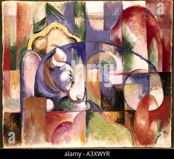 """""""Bildende Kunst, Marc, Franz, (1880-1916), Malerei,""""Liegender Stier"""", (""""liegender Stier""""), 1913, Museum Folkwang, - Stockfoto"""