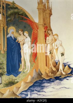"""""""Bildende Kunst, religiöse Kunst, Adam und Eva,""""Vertreibung aus dem Paradies"""", Miniatur, Detail, von Jean Limburg, - Stockfoto"""
